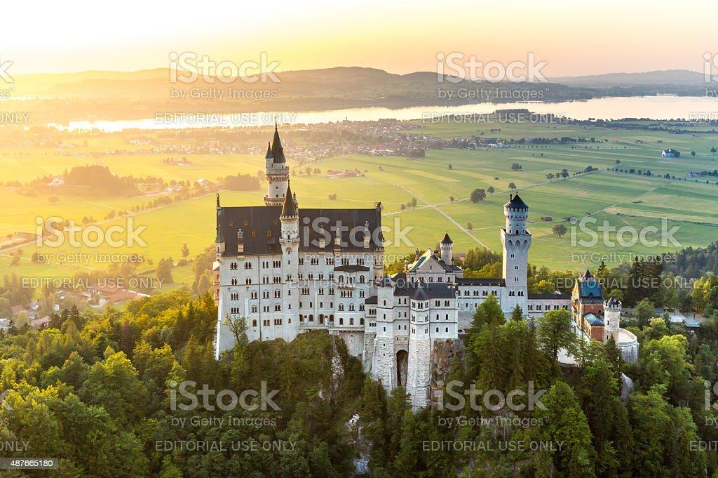 Neuschwanstein castle sunset stock photo