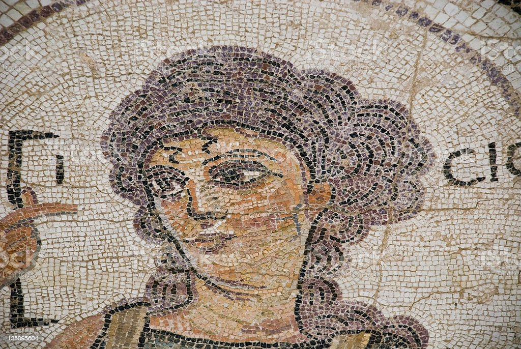 Neutral color Roman mosaic of goddess stock photo