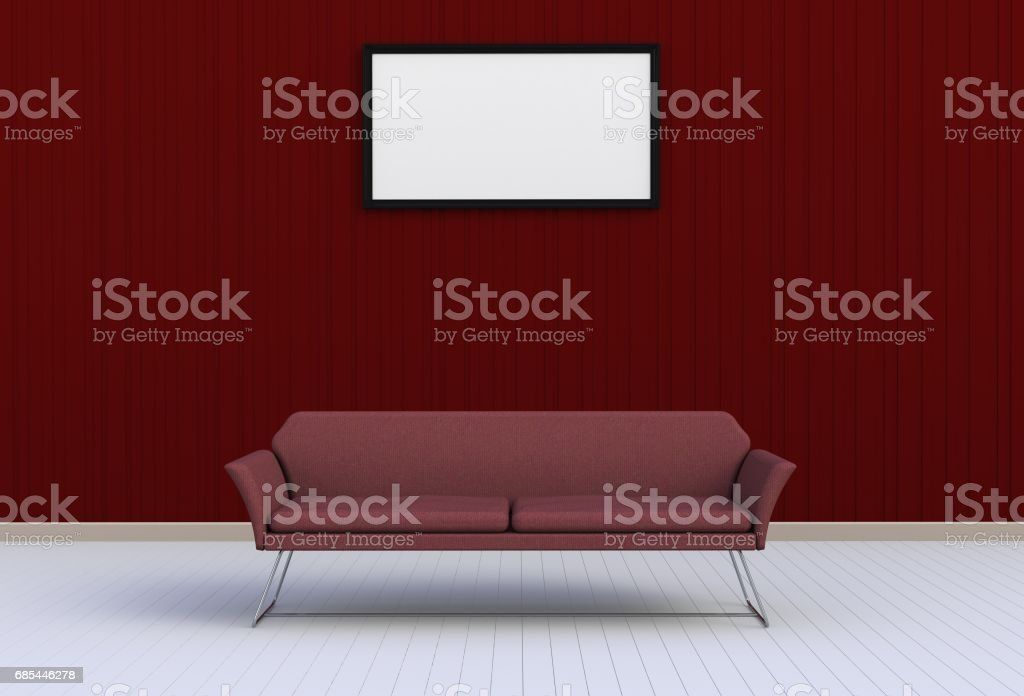 Neutral interior with chair and blank picture on empty red wall background, 3D rendering stock photo
