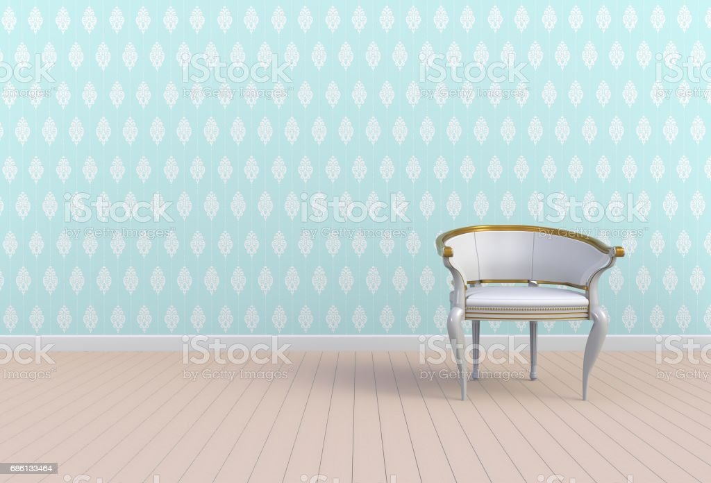 Neutral interior with chair on empty blue wall background, 3D rendering stock photo