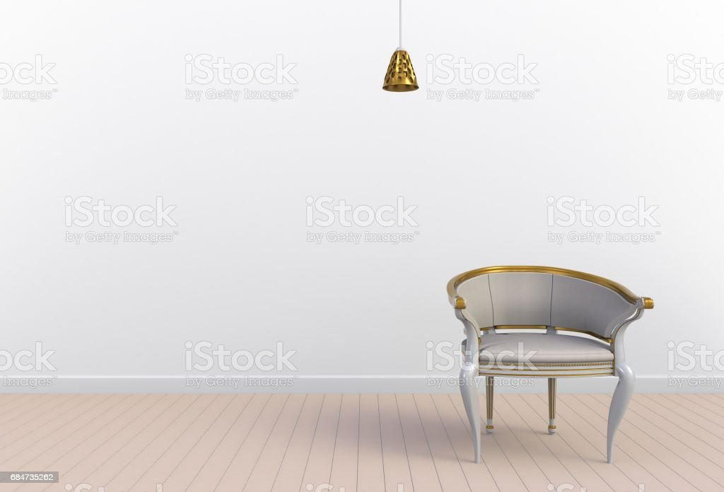 Neutral interior with chair on empty white wall background, 3D rendering stock photo