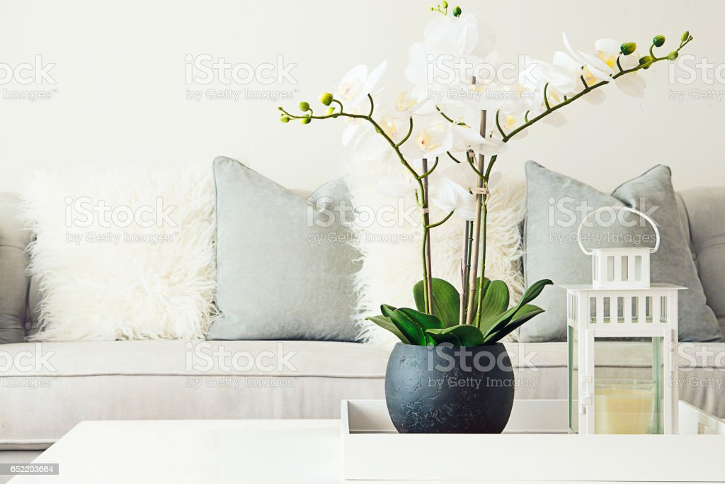 Neutral livingroom decor stock photo
