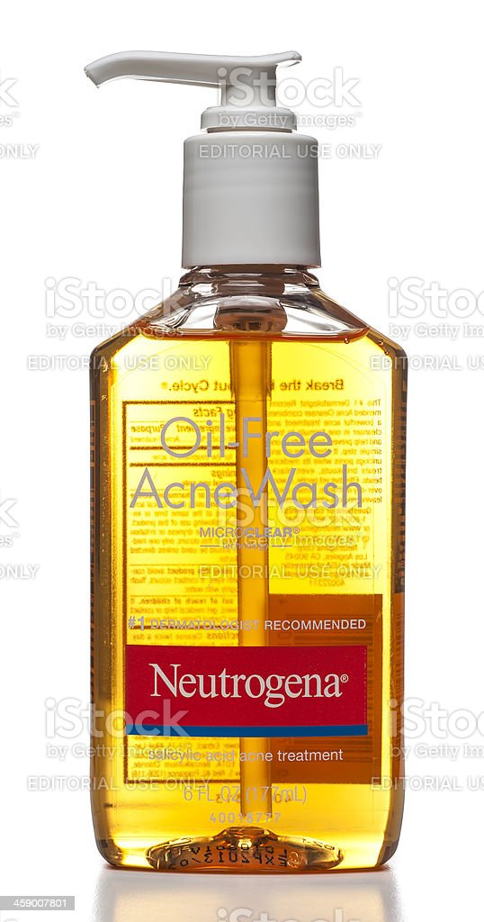 Neutrogena Oil-Free Acne Wash bottle stock photo