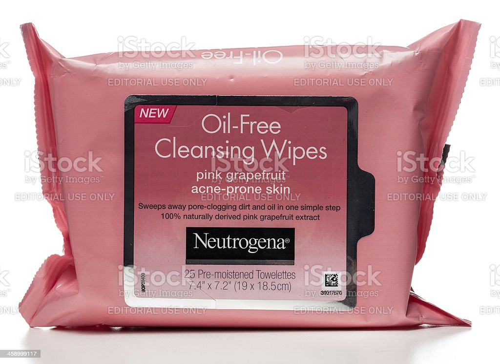 Neutrogena Oil-Free Cleansing Wipes package stock photo