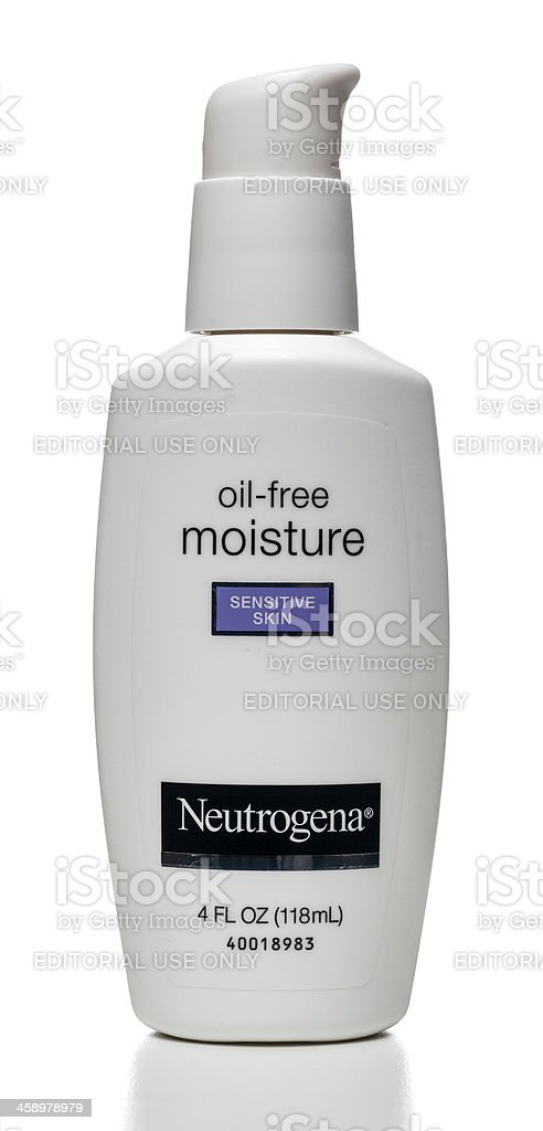 Neutrogena Oil-Free Moisture Sensitive Skin bottle stock photo