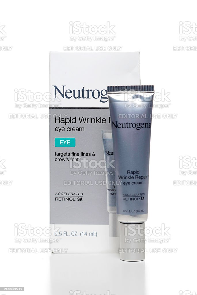 Neutrogena Rapid Wrinkle Repair eye cream box and tube stock photo