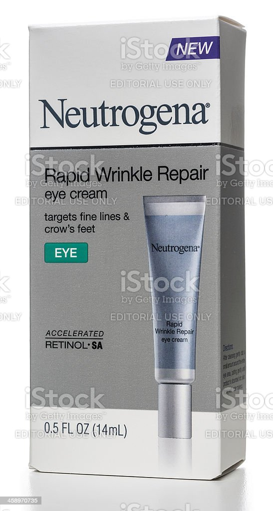 Neutrogena Rapid Wrinkle Repair eye cream box stock photo