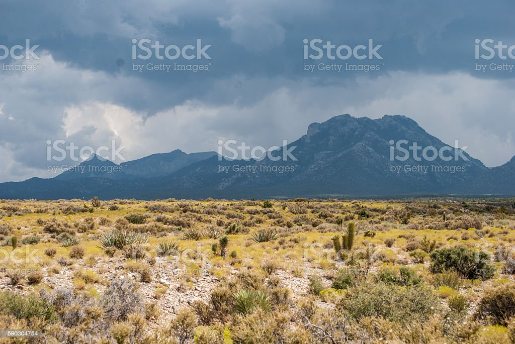 Nevada desert and mountains with storm clouds stock photo