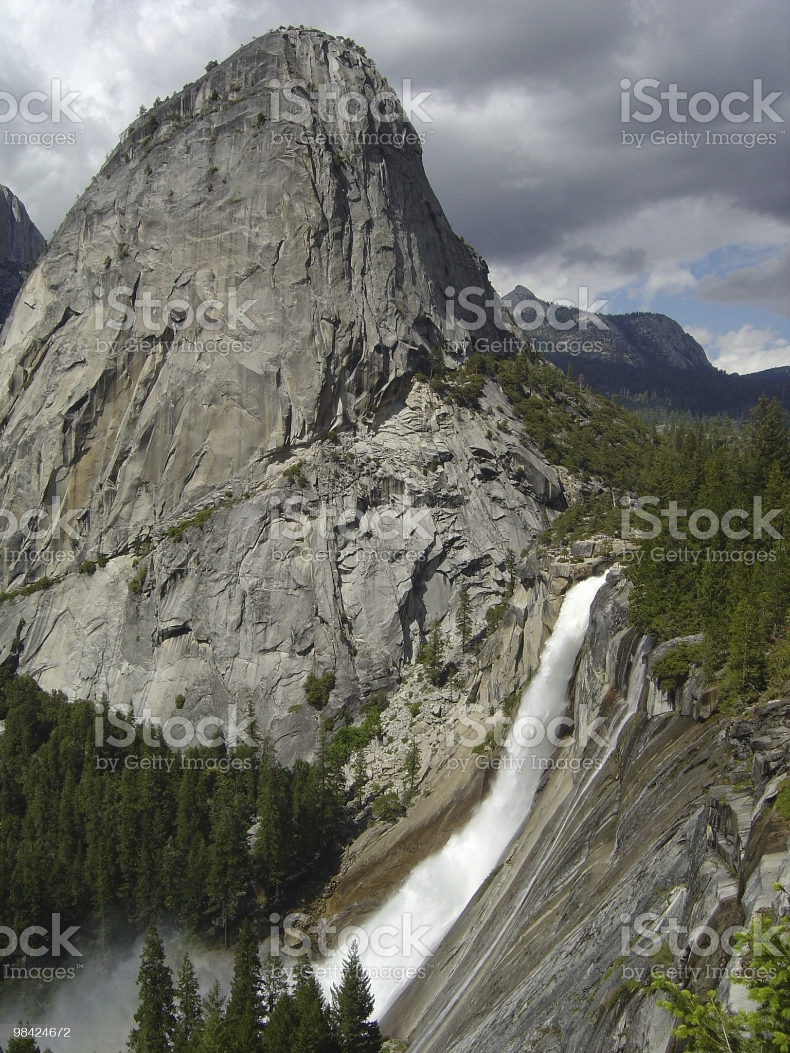 Nevada Falls and Liberty Cap at Yosemite National Park royalty-free stock photo