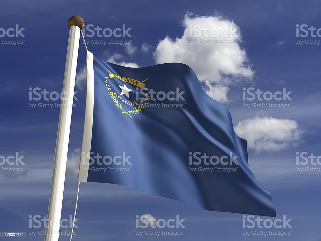 Nevada flag (with clipping path) royalty-free stock photo