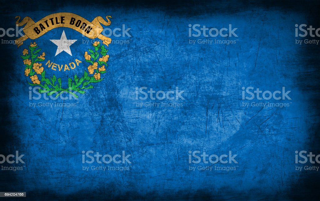 Nevada flag with grunge metal texture stock photo