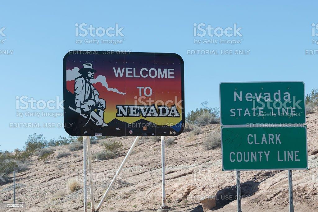 Nevada State Line stock photo