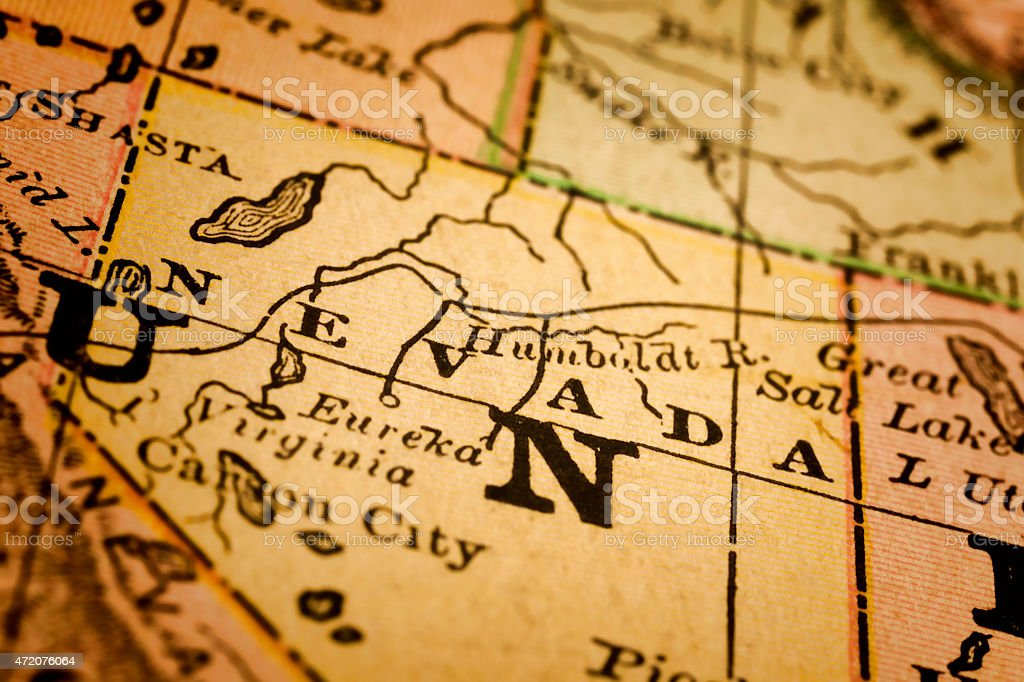 Nevada State on an Antique map stock photo