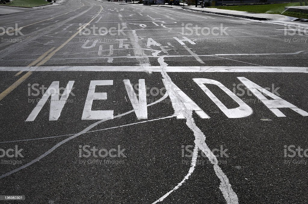 Nevada & Utah State Line stock photo