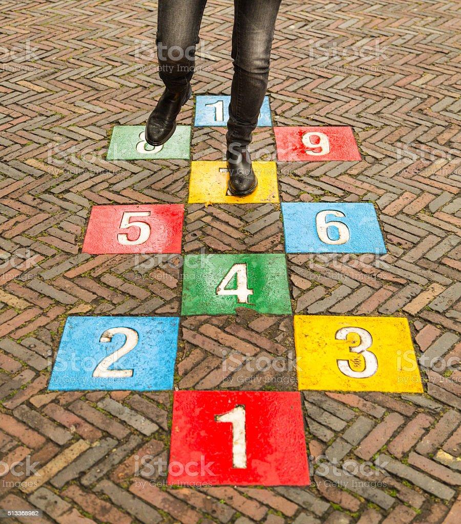 Never Stop Playing Hopscotch stock photo
