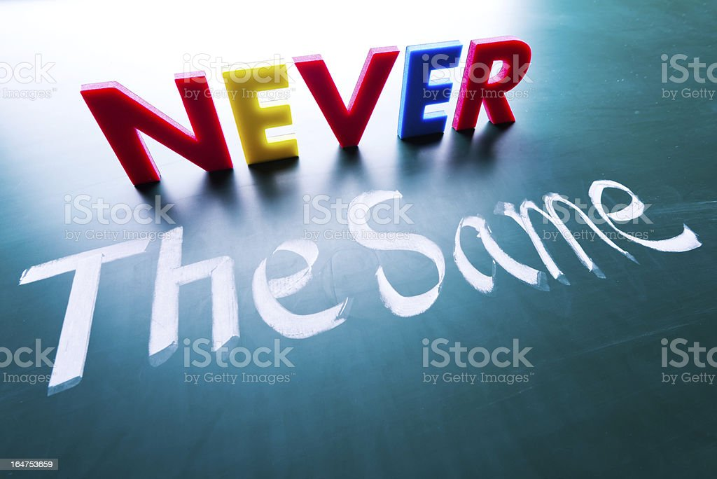 Never the same concept royalty-free stock photo