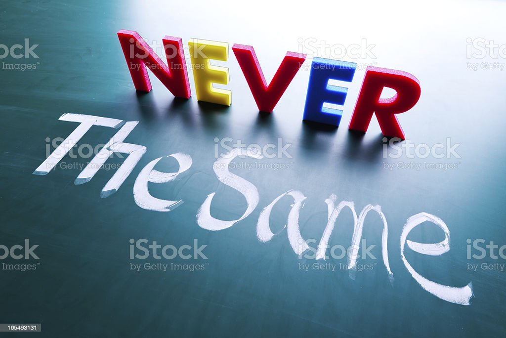 Never the same concept stock photo