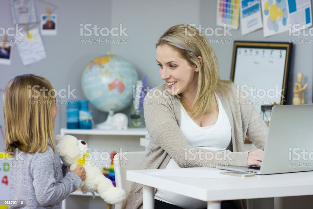 Never Too Busy for Her Daughter stock photo