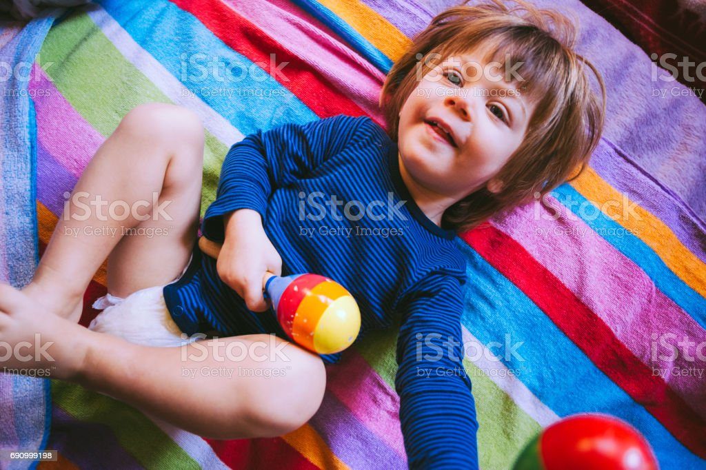 Never Too Young To Play Percussion Instruments stock photo