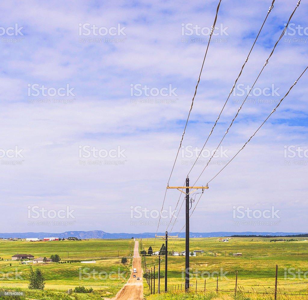 Neverending road through rural Colorado. USA stock photo