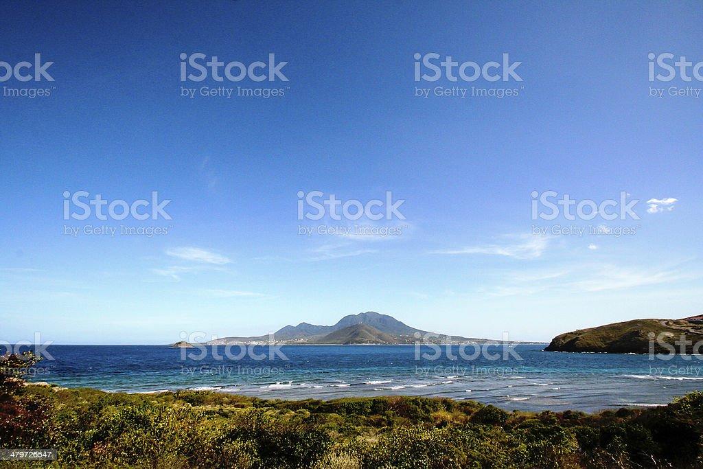 Nevis from St Kitts stock photo