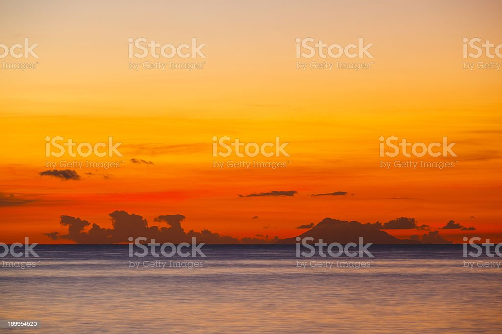 Nevis With Colorful Sunset stock photo