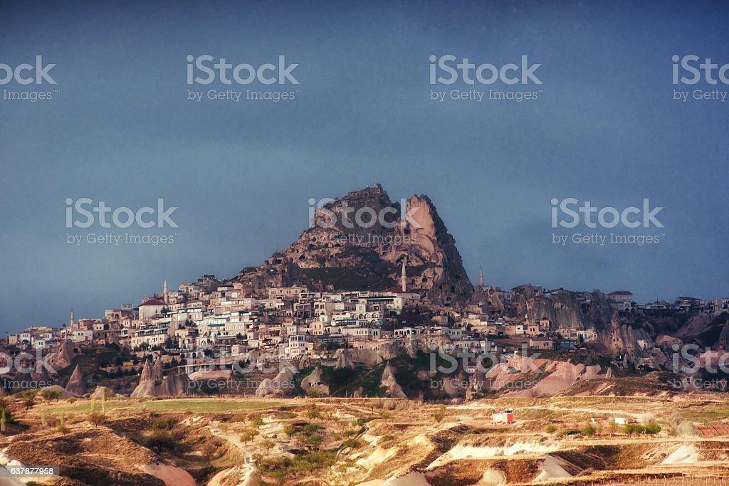 Nevsehir cave city in Cappadocia, Turkey stock photo