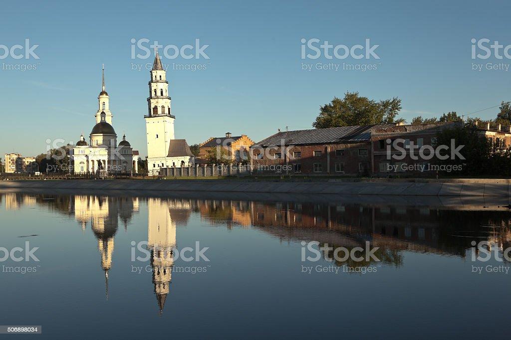 Nevyansk leaning tower and the Spaso-Preobrazhensky Cathedral. Nevyansk. Russia. stock photo