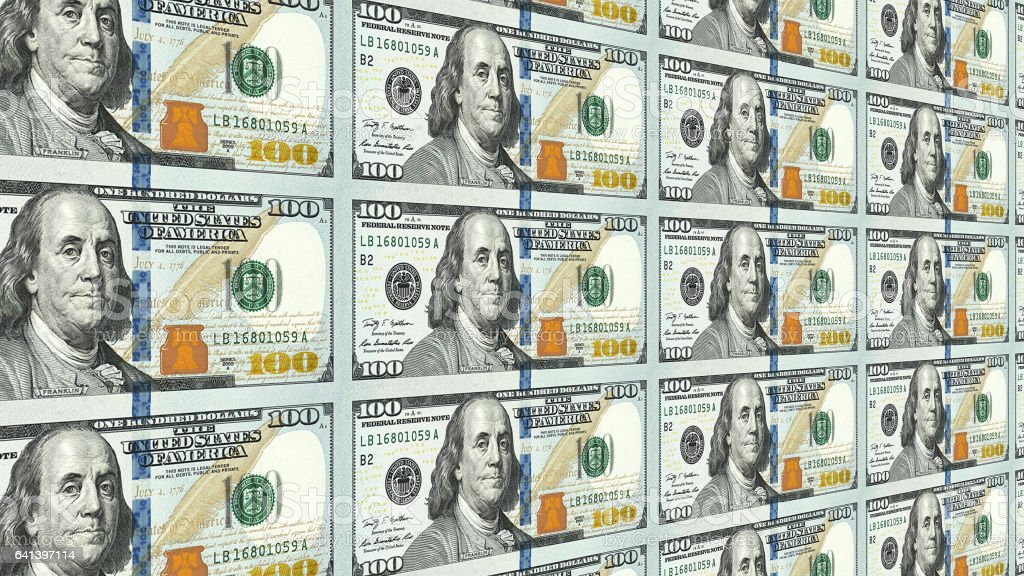 New 100 dollar bills in distance 3d perspective stock photo