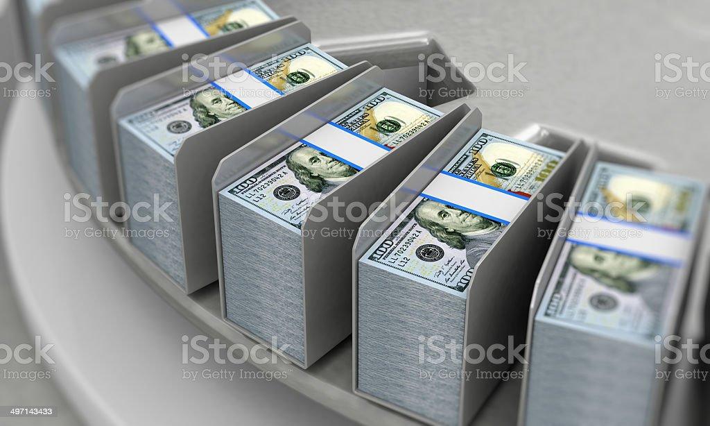 New 100 Dollar Bills on a Conveyor stock photo