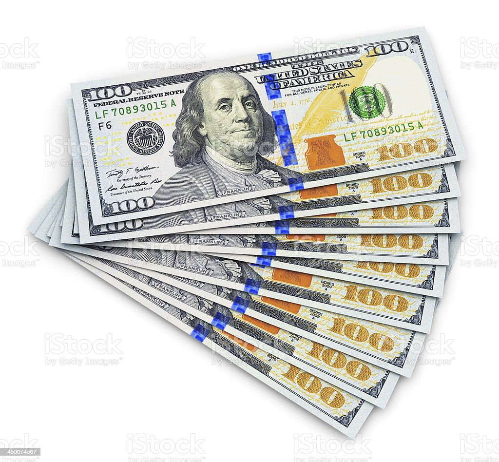 New 100 US dollar banknotes 2013 edition stock photo