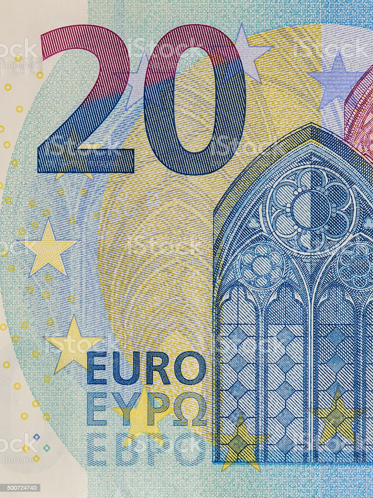 New 20 Euro banknote Close Up stock photo