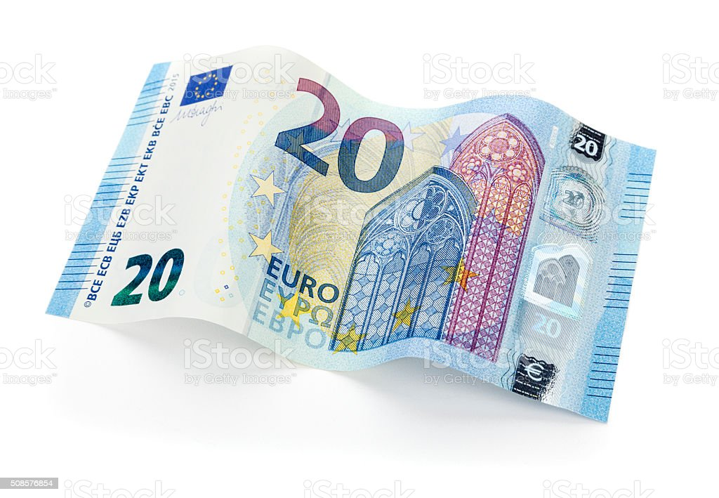 New 20 Euro bill isolated with clipping path stock photo