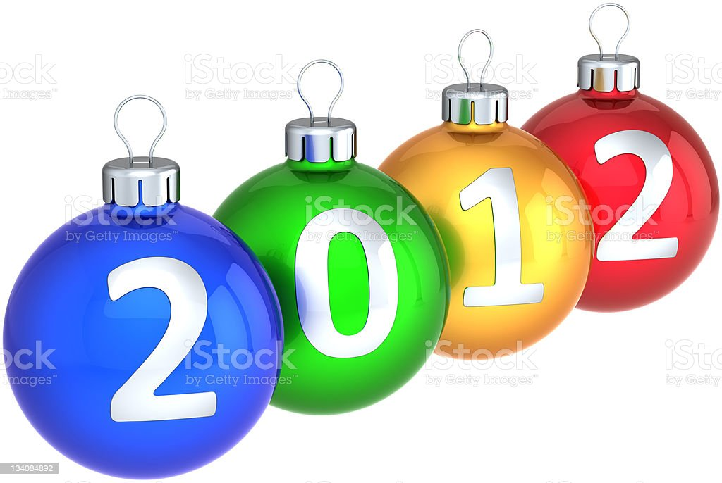 New 2012 Year baubles Christmas balls multicolored royalty-free stock vector art