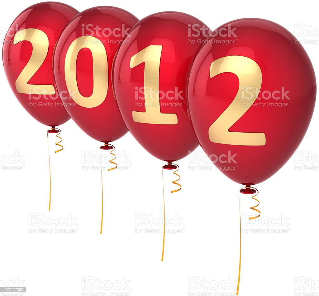 New 2012 Year's eve balloons decoration red with golden date royalty-free stock photo