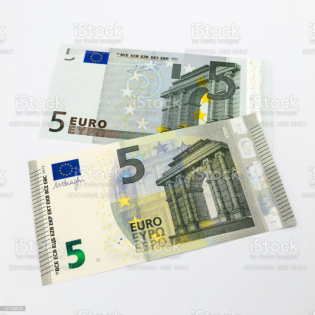 New 2013 five Euro banknote on top of previous model stock photo