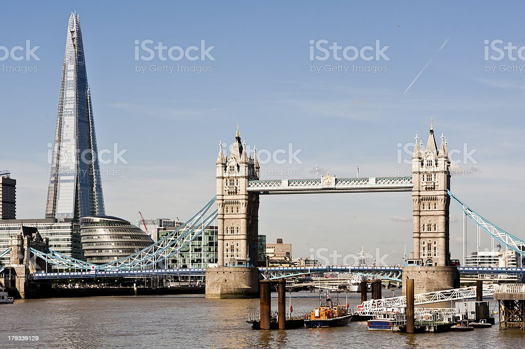 New 2013 London skyline with Tower Bridge and The Shard. royalty-free stock photo