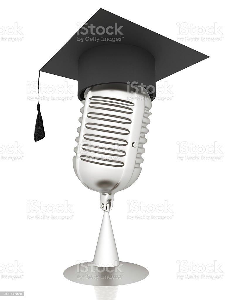 New 3d concept of education with microphone and graduation hat stock photo