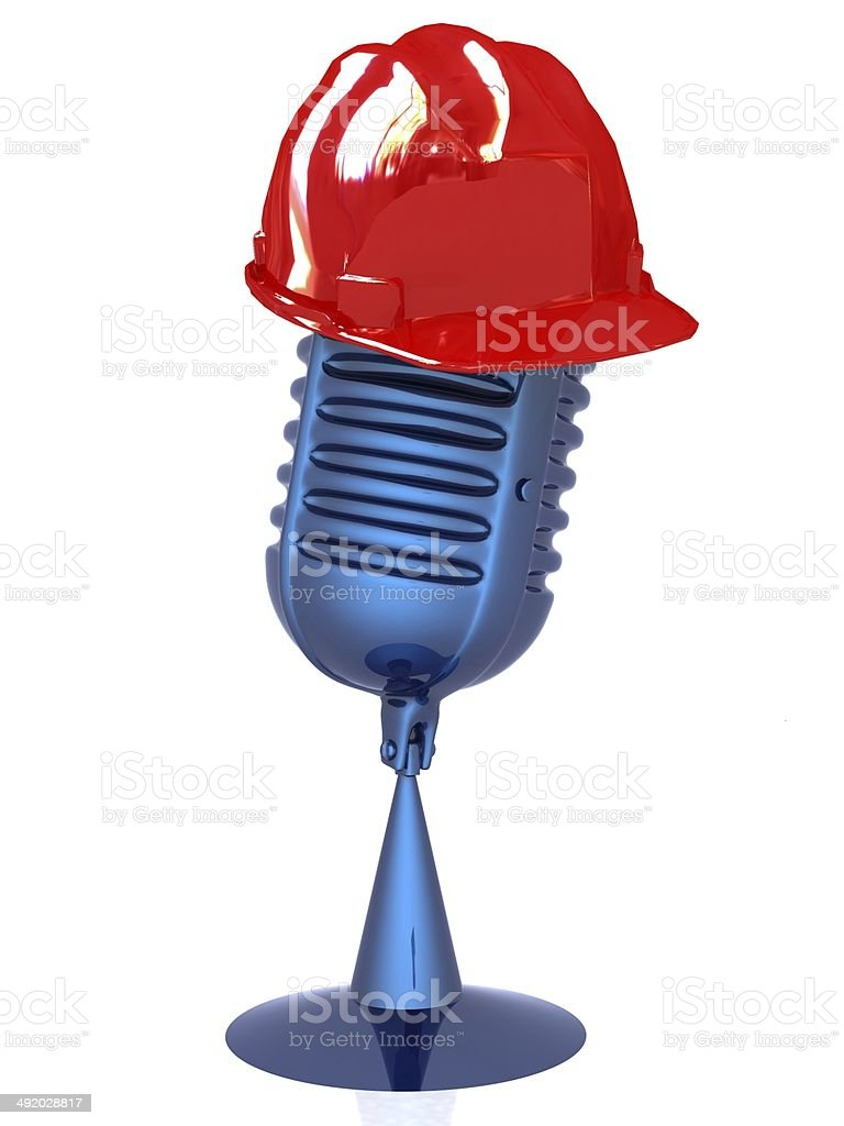 New 3d concept of technology education with microphone and hard stock photo