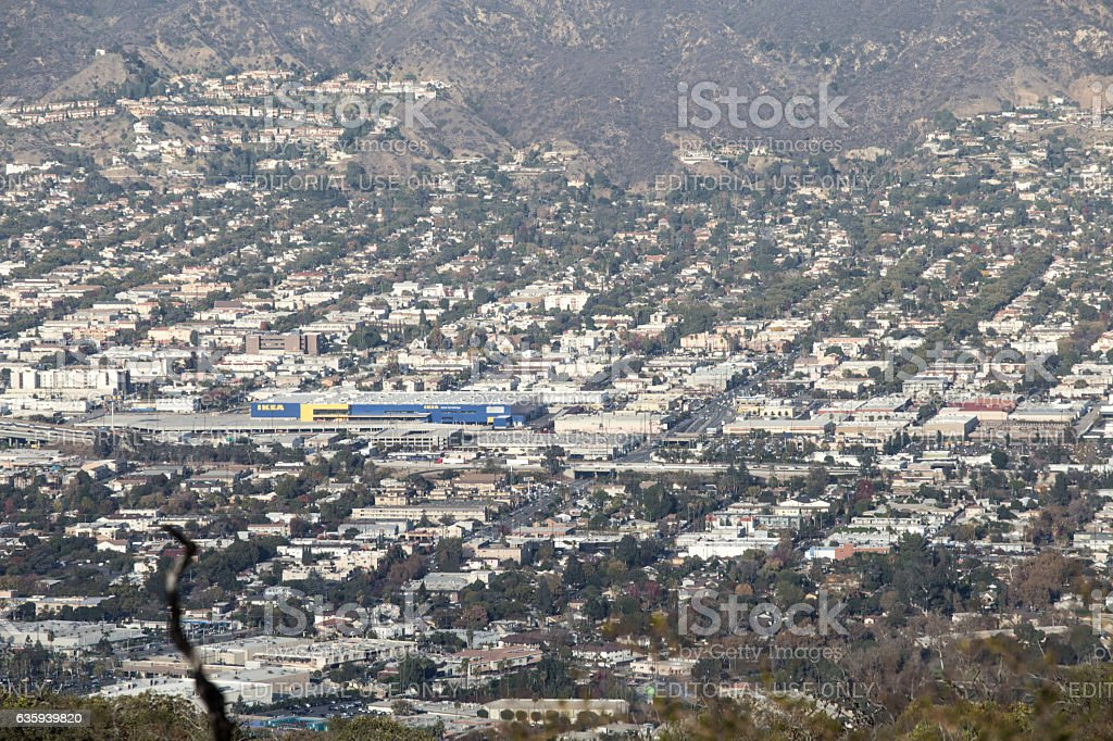New 456,000 squarefoot IKEA Burbank CA from Hollywood moutain stock photo
