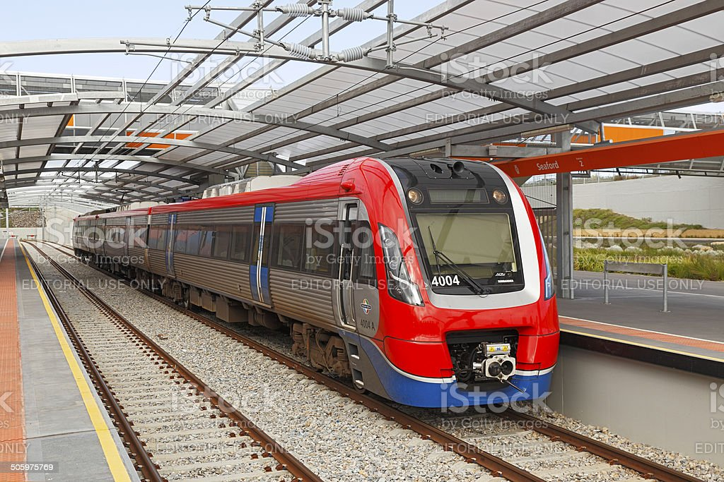 New Adelaide electric train at Seaford Station stock photo