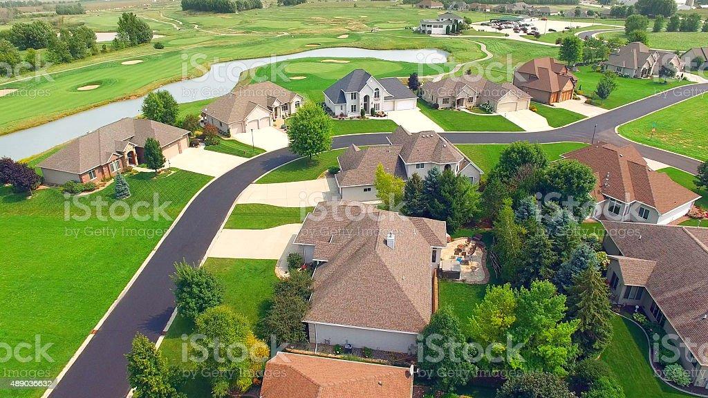 New affluent neighborhood development next to golf course stock photo