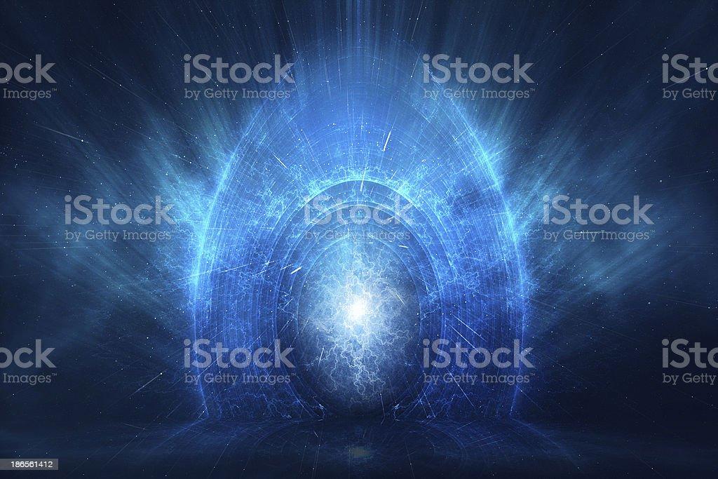 New age lightning egg shape in blue stock photo