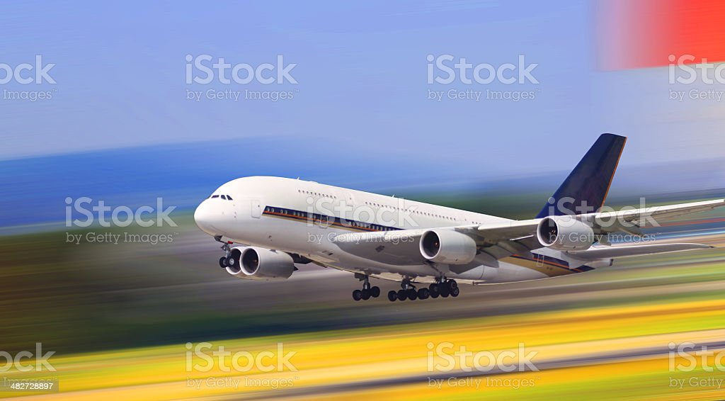 New Airbus airplane A380 take off stock photo
