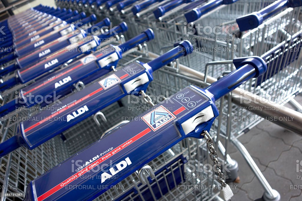 New Aldi Shopping Carts in a row stock photo