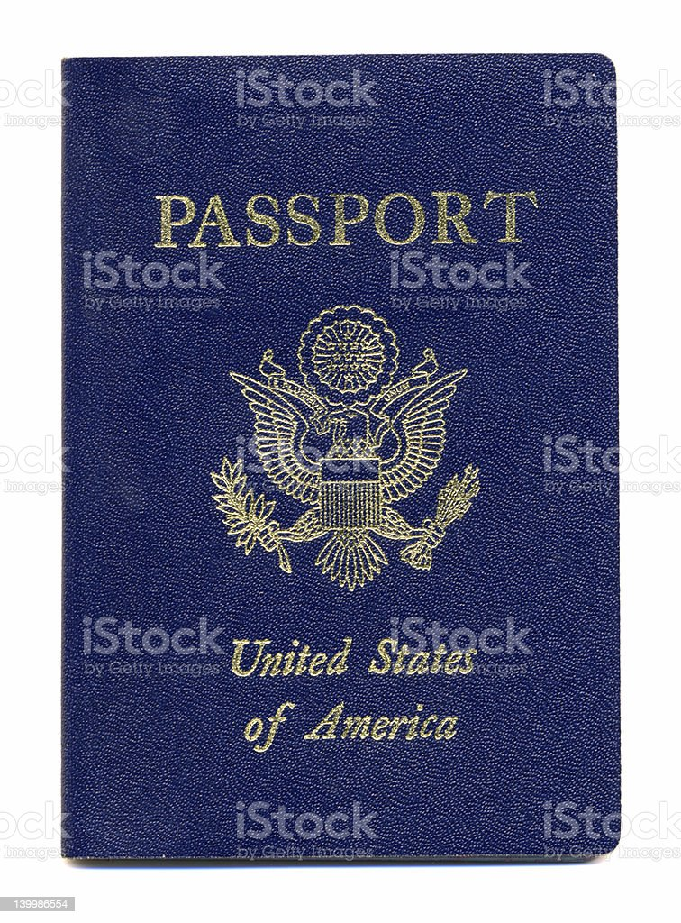 New American Passport Isolated on White Background stock photo