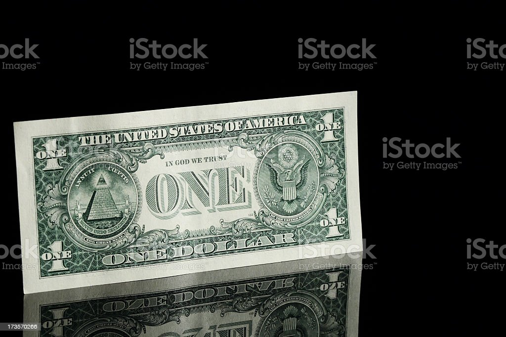 A new and crisp one dollar bill stock photo