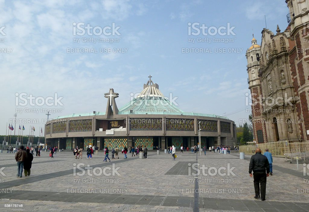 New and Old Basilica of Our Lady of Guadalupe stock photo