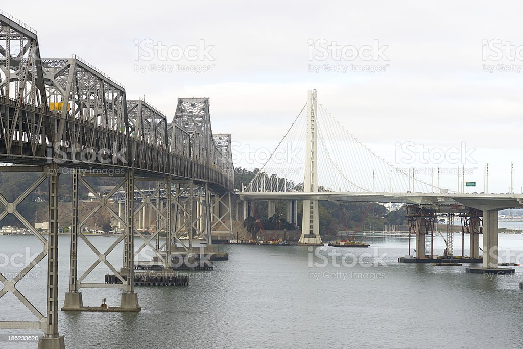 New and Old Bay Bridge stock photo
