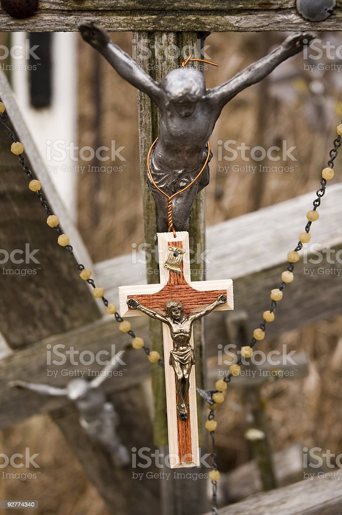 New and old crosses with Jesus figures royalty-free stock photo